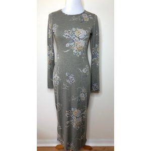 Piphany Vanderbilt Long Sweater Dress Sage Floral